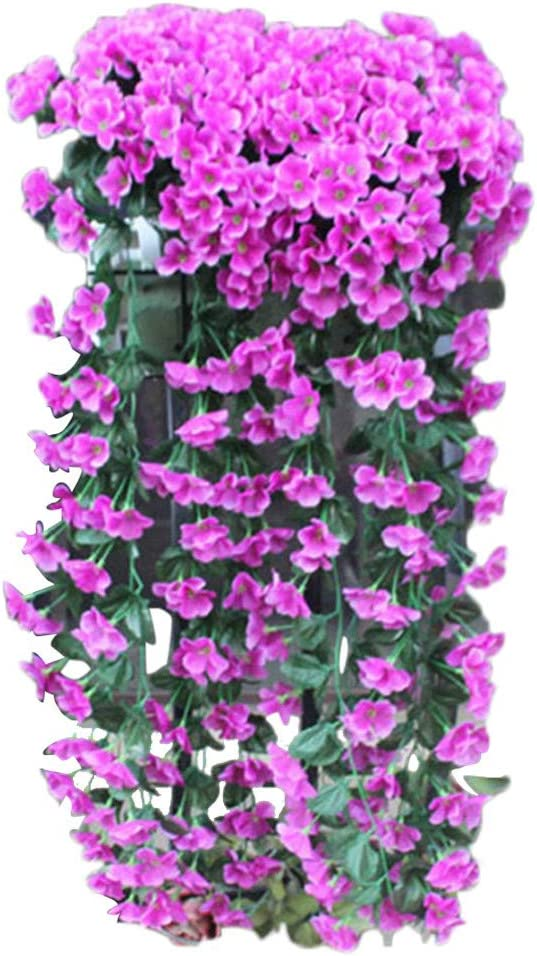 PIKAqiu33 Home Decor, Hanging Flowers Artificial Violet Flower Wall Wisteria Basket Hanging Garland Vine Flowers Fake Silk Orchid, Home Decor Products (Purple)