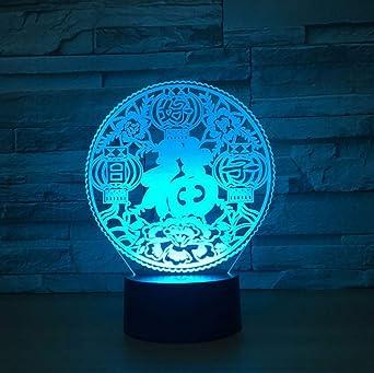 Bendición 3D Luz de la noche Buena suerte LED 7 Cambio de color ...