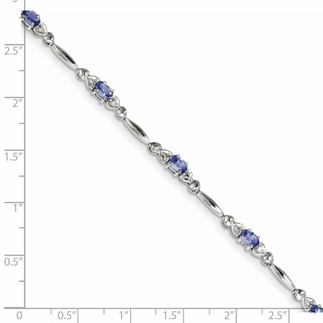 ICE CARATS 925 Sterling Silver Blue Tanzanite Diamond Bracelet 7 Inch /love Gemstone Fine Jewelry Gift Set For Women Heart by ICE CARATS (Image #2)