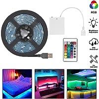 Led Strip Lights Battery Operated, RGB LED Strip Rope Lights USB LED TV Backlight Light Strip with 24 Keys IR Remote…