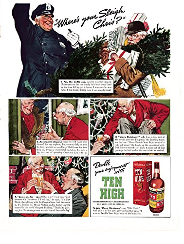 1940 Hiram Walker Ten High Whiskey-Christmas Gift Original 13.5 * 10.5 Magazine (Hiram Walker Whiskey)