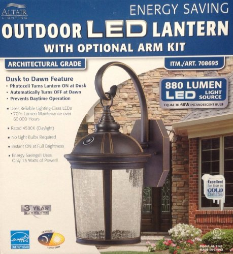 Altair Lantern Lighting Led Outdoor Lantern With Optional Arm Kit -  Landscape Torch Lights - Amazon.com - Altair Lantern Lighting Led Outdoor Lantern With Optional Arm Kit