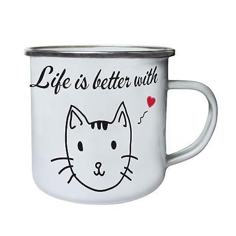 la vida es mejor con los gatos Retro, lata, taza del esmalte 10oz/