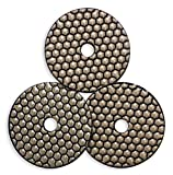4 Inch Dry Diamond Polishing Pads 3000 Grit for Marble Granite Concrete Stone Surface Edge Polishing (3 Pcs Set)