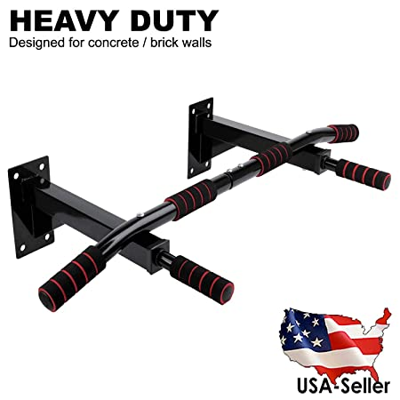 FITNESS MANIAC Wall Mount Chin Up Bar Authentic Wall Mounted Heavy Duty Pull Up Bar with Four Grip Positions