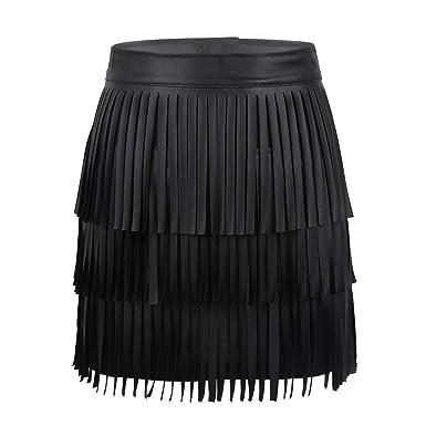 a1867357079d Alvivi Women's Adjustable Waistband Faux Leather Fringe Dress Belt Gypsy  Style Tassel Skirt Black Bodycon Small