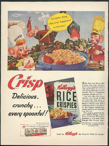 (Crisp Delicious Crunchy Kellogg's Rice Krispies ad 1942 Snap Crackle Pop)