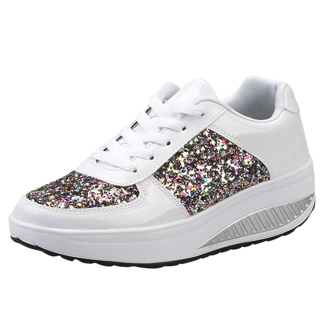 Sunshinehomely Women's Ladies Sequins Shake Shoes Wedges Sneakers Fashion Girls Sport Shoes (White, US:8(41))