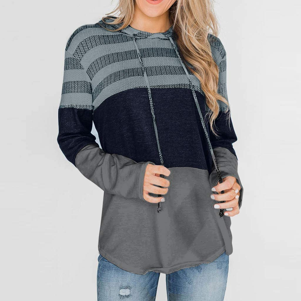 Womens Loose Long Sleeve Stripe Blouses Shirt Color Block Hoodies Tops Tunic