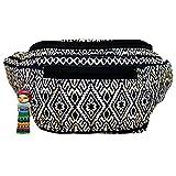 Tribal Tattoo Fanny Pack, Stylish Party Boho Chic Handmade w/Hidden Pocket (Inca Cat)