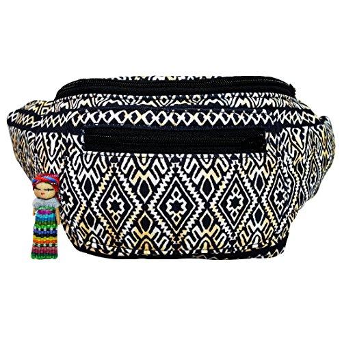 (Tribal Tattoo Fanny Pack, Stylish Party Boho Chic Handmade w/Hidden Pocket (Inca Cat))