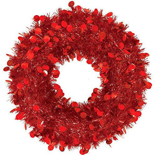 Festive Christmas Tinsel Wreath Party Decoration, Red, Foil (Tinsel Christmas Wreath)