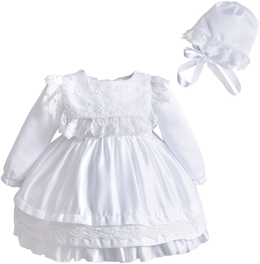 Baby Girl Lace Square Bib Long Sleeve Christening Gown Baptism Dress with Bonnet