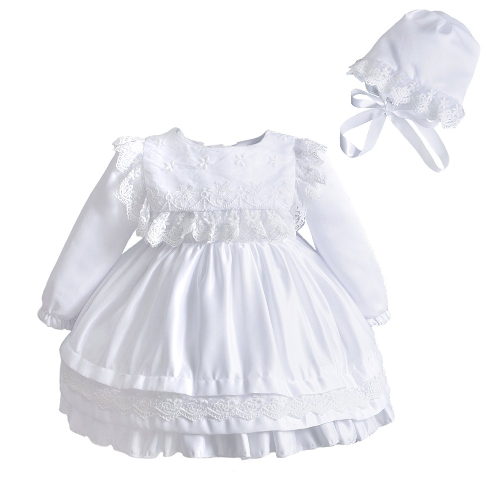6099b350fb85a Baby Girl Lace Square Bib Long Sleeve Christening Gown Baptism Dress with  Bonnet