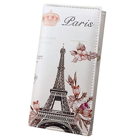 Billetera Kukul Mujer Largo Billetera Suave Cuero de la PU Banderas de París Estilo Torre Eiffel