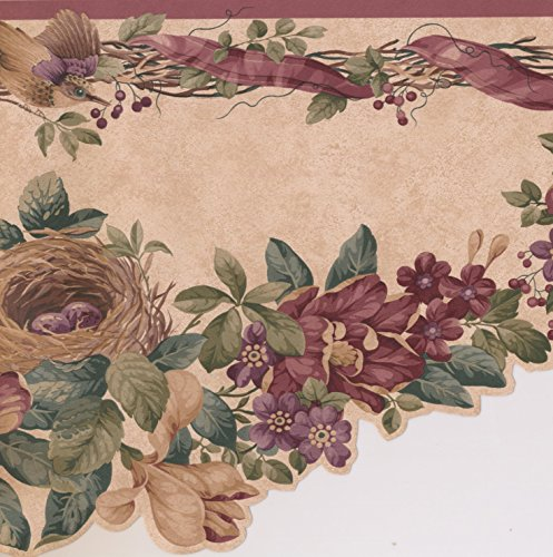 Purple Flowers on Vine Bird Nest Beige Farmhouse Wallpaper Border Rustic Design, Roll 15' x 10'' ()