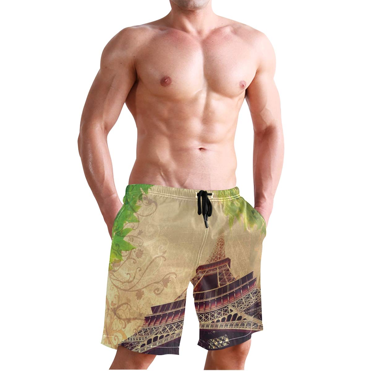 KVMV Eiffel Tower and Tree Leaves On Grunge Background with Quick Dry Beach Shorts