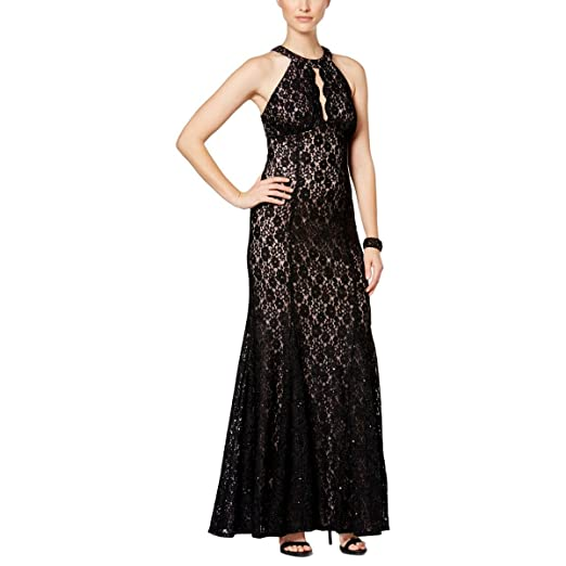 Nightway Womens Petite Glitter Lace Halter Gown Blacknude 10p
