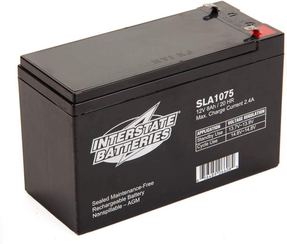 Interstate Batteries 12V 8AH SLA battery, .187 Faston terminals, (SLA1075)