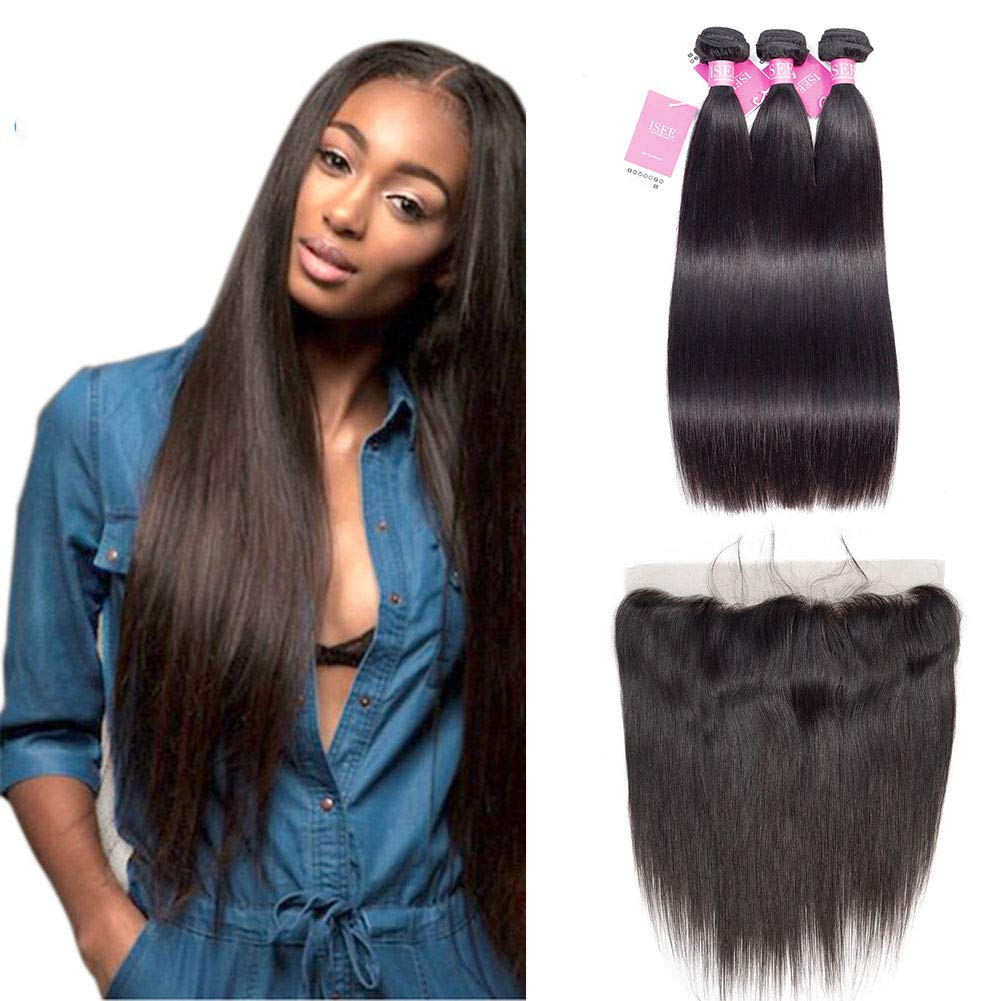 ISEE Hair 8A Malaysian Straight Hair 3 Bundles With 13x4 Lace Frontal Virgin Unprocessed Human Hair Wefts Hair Extensions Deal With Mixed Lengths 20 22 24 Inches With 18 Inches Frontal by ISEE