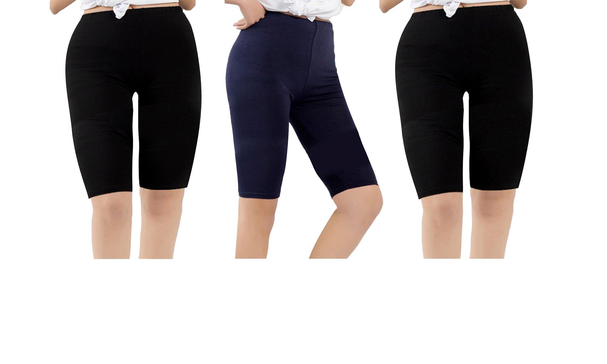 Zando Summer Casual Over The Knee Length Breathable Plus Size Comfort Modal Pants Capris Leggings for Women F Black Black Navy US XL-US 1X Plus