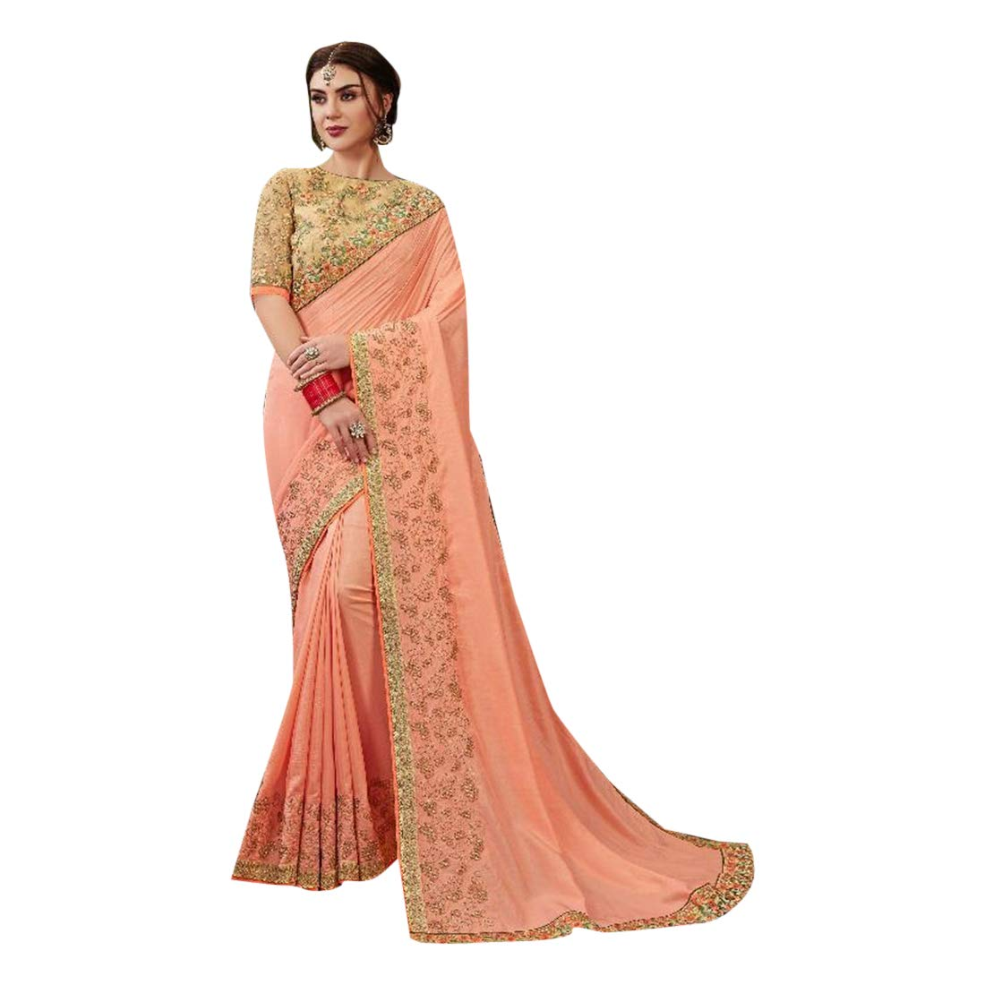 Peach Designer Cutwork Embroidery Dola Silk Sari with Blouse Ethnic Indian Saree for Women Party wear 7721