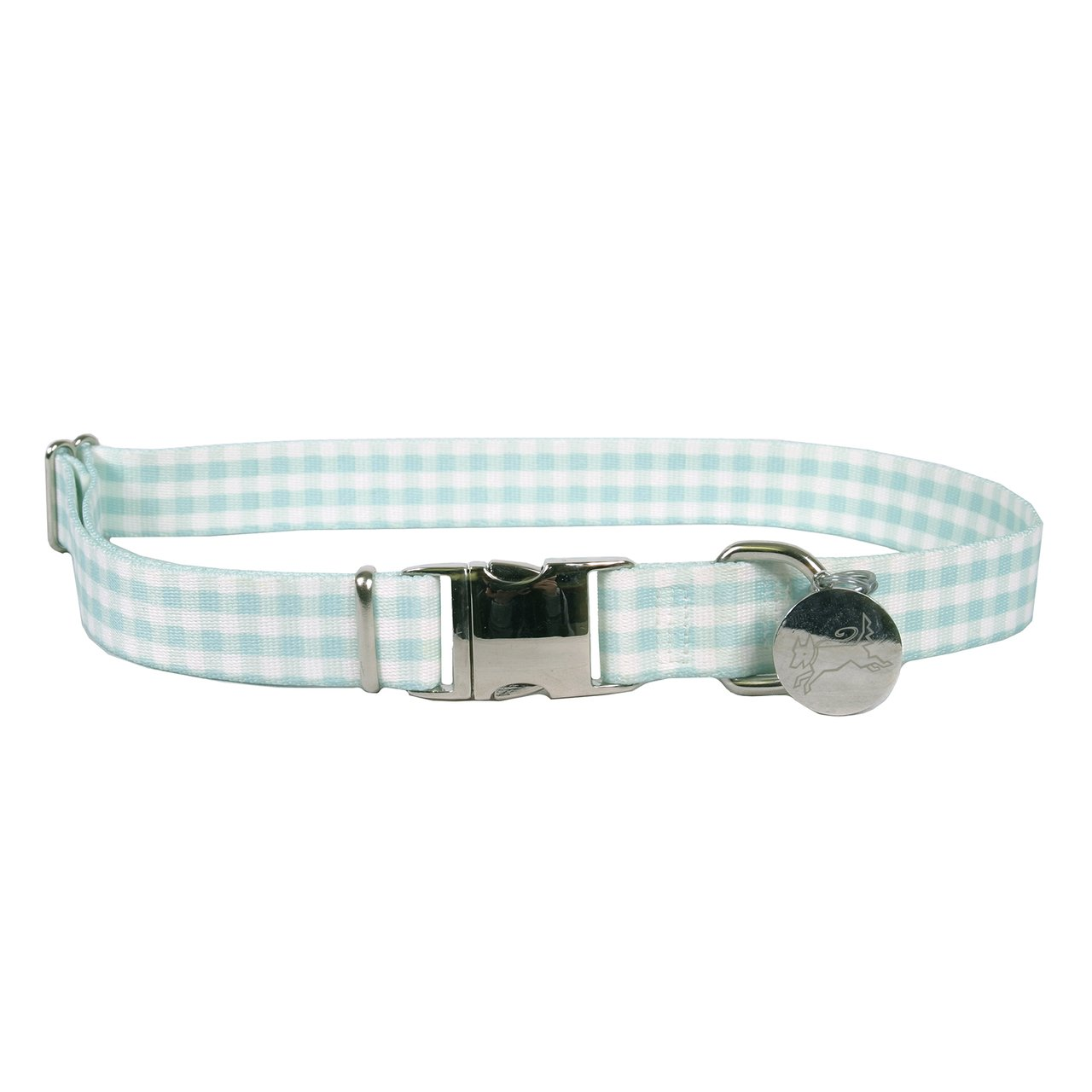 Southern Dawg Gingham Mint Premium Dog Collar - Size Large 18'' - 28'' by Yellow Dog Design