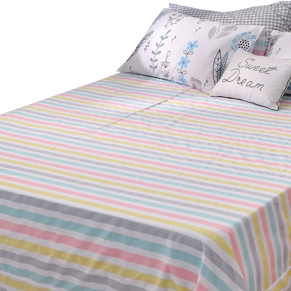 BuLuTu Deep Pocket Fitted Sheet Queen Only 100 Percent Cotton,Colorful Pastel Stripes Print Kids Girls Fitted Bottom Sheet Full Multi-colored,Breathable,Soft,Premium Single Bed Sheet(1 Piece)