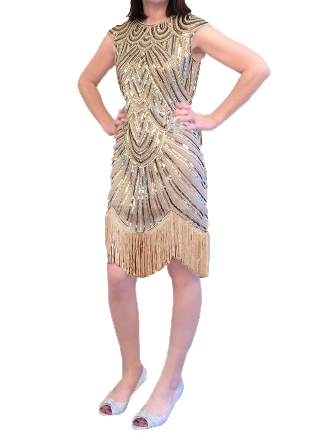 Tkria Women Sleeveless Sequins Bodycon Midi Fringed Flapper Dresses For Evening Party Size M L XL