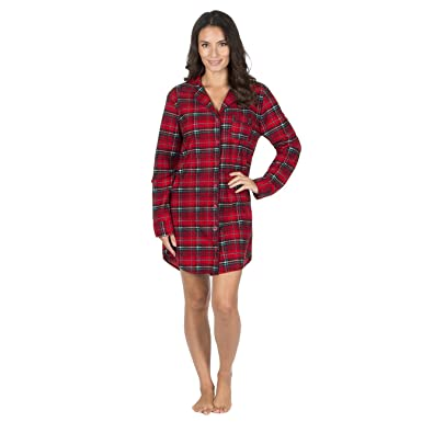 Forever Dreaming Womens Check Printed Pyjama Night Shirt with Turn