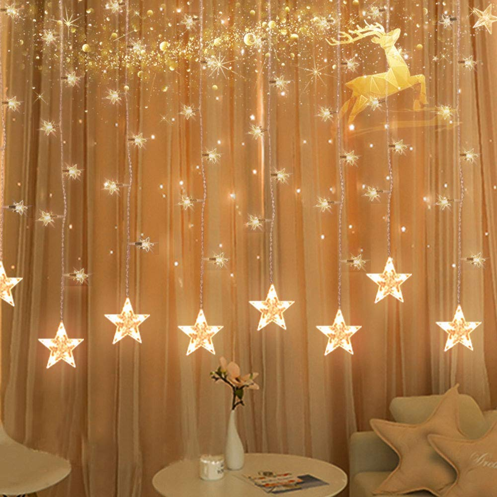 Tofu star curtain string light 100 led window curtain lights plug in curtain string lights with 10 stars 8 flashing modes decoration for wedding bedroom