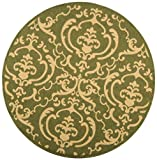 Cheap Safavieh Courtyard Collection CY2663-1E06 Olive and Natural Indoor/Outdoor Round Area Rug (6'7″ Diameter)