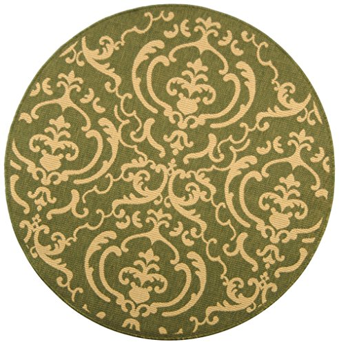 - Safavieh Courtyard Collection CY2663-1E06 Olive and Natural Indoor/Outdoor Round Area Rug, 6-Feet 7-Inch