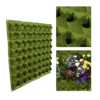 HGMart Wall Hanging Grow Bag, Outdoor Vertical Garden Plant Bags Mit 64  Round Pockets,