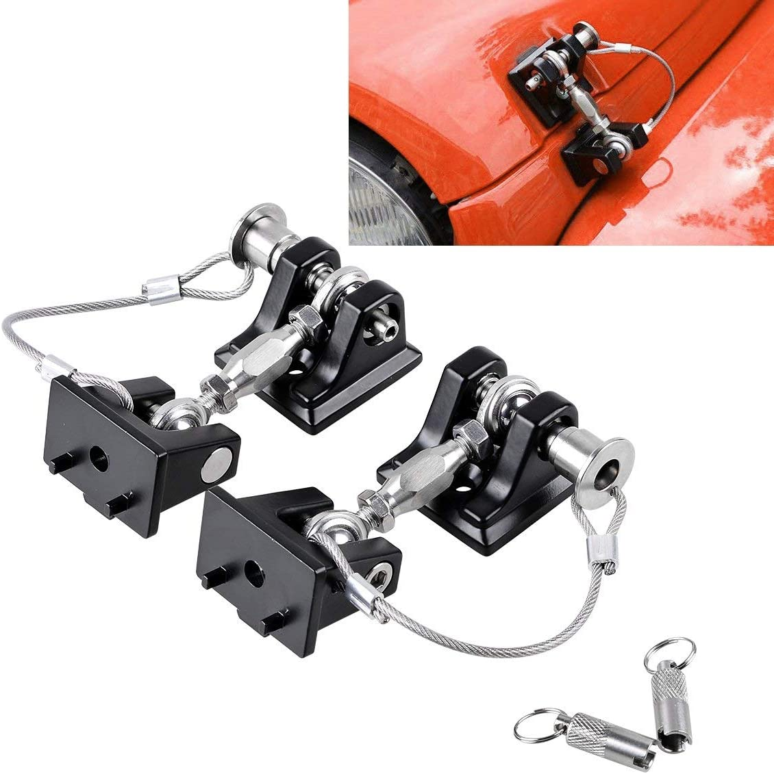 Pandaorv Hood Lock Anti Theft Front Grille Lock with Keys for Jeep Wrangler JK 2007-2018