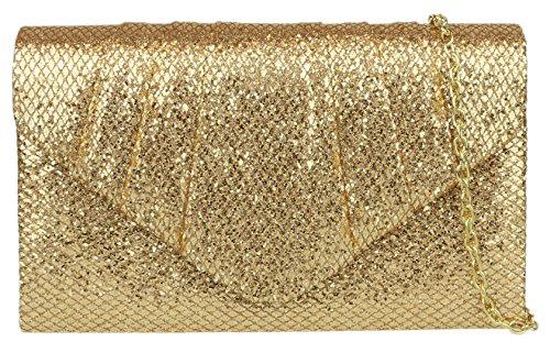 Girly HandBags Glitter Pleated Clutch Bag Champagne