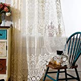 pureaqu Embroidery Sheer Curtain Panels For Bedroom Semi Sheer Floral Curtains Voile Window Drapes Panels Tulle With Rod Pocket For Living Room Dining Room 1 Panel W75 x H84 Inch Review