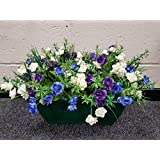 Outdoor Artificial Plant , White Purple and Blue Flowers , Pot and Bark by Eternal Bloom