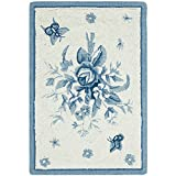Cheap Safavieh Chelsea Collection HK250A Hand-Hooked Ivory and Blue Premium Wool Area Rug (1'8″ x 2'6″)