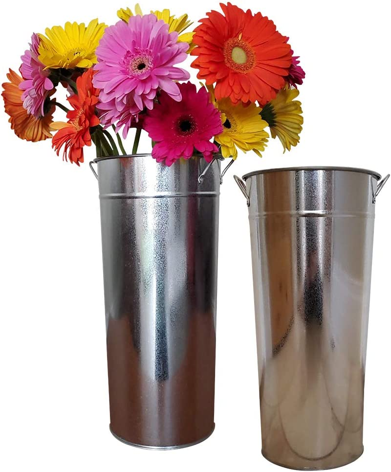 "Tavenly 15"" Galvanized Vase 2 Pack of Sparkler Bucket 
