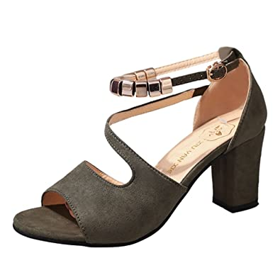 f366446cc17 Bringbring Women Solid Color Peep Toe Buckle Square Heel Sandals High  Heeled Shoes