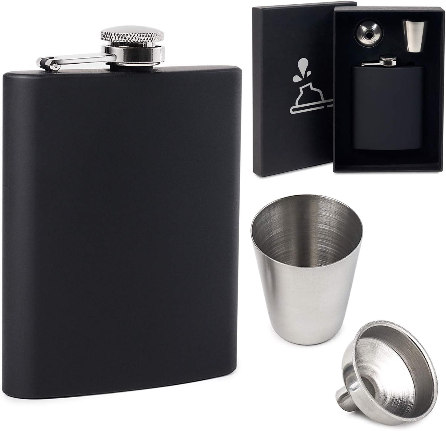 Osmykqe Hip Flask Presock Skull Middle Finger Hip Flask for Liquor Stainless Steel Bottle Alcohol 7oz Best Birthday Gift Present for Women Men