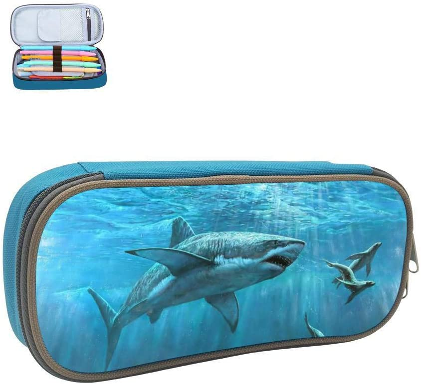Blue Deep Sea Shark Pencil Case Student Custom Pen Box Stationery Pouch Multipurpose Storage Bag Blue