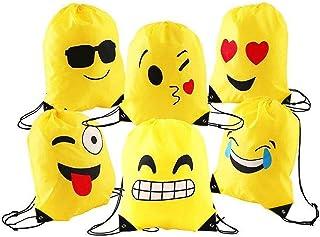 Emoji Borse Sacca, Comius 6 Pezzi Emoji Zaino con Coulisse Sacchetto del PE per Bambini, Festa di Compleanno, Natale