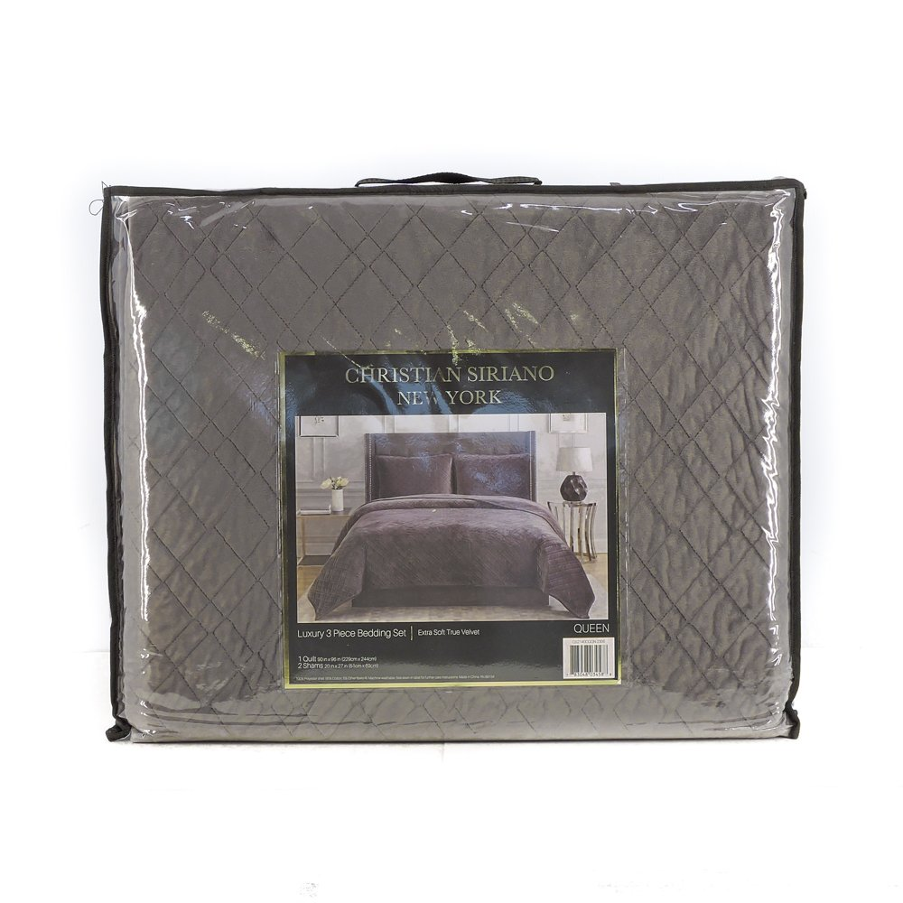 Christian Siriano New York Luxury 3 Piece Velvet Quilt Bedding Set (Queen, Charcoal)
