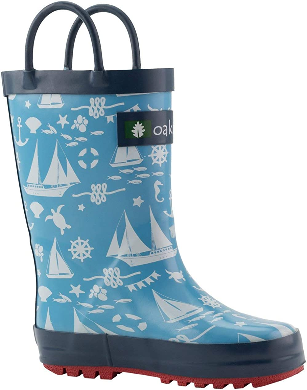 OAKI Kids Waterproof Rubber Rain Boots with Easy-On Handles
