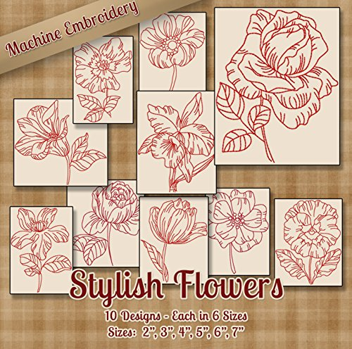 Stylish Flowers Embroidery Machine Designs on CD - StitchX Embroidery Designs - 10 Outline Style Designs - 6 Sizes Each - ART PES JEF EXP VIP HUS DST VP36