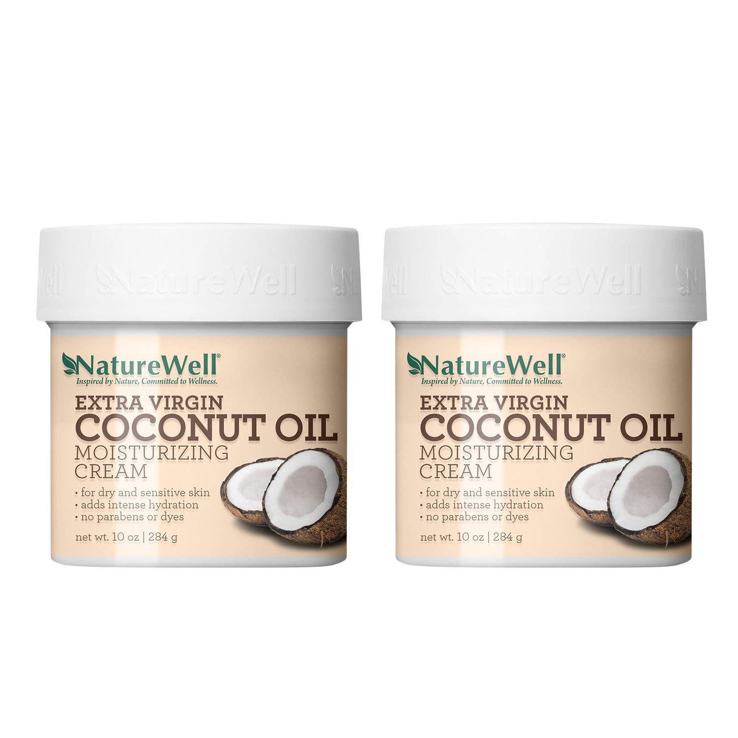NatureWell Extra Virgin Coconut Oil Moisturizing Cream for Face & Body, 10 oz. | Adds Intensive Hydration to Dry & Sensitive Skin (2 Pack)