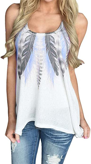 New Women/'s Plus Size O-Neck Summer Feather Print Long Vest Tops Blouse T-Shirt