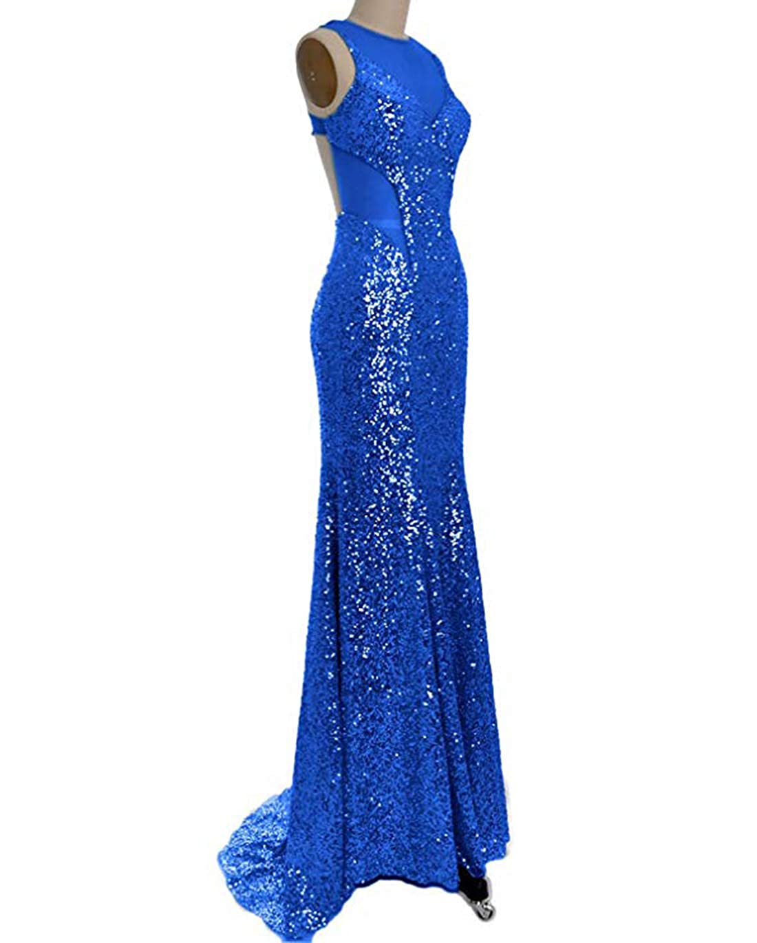 Royal bluee olise bridal Blingbling Mermaid Prom Dresses Special Design Sparkly Sequin Backless Long Evening Gowns Women Wear